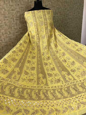 Viscose Georgette Gota Patti Chikan Anarkali Suit