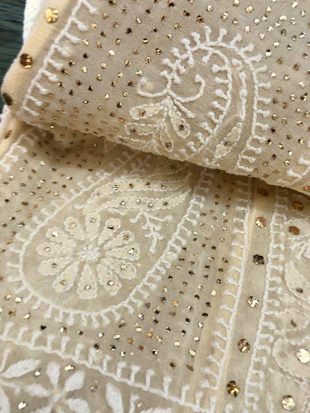 Beige Chikankari Anarkali Suit With Golden Mukaish (Anarkali And Dupatta)