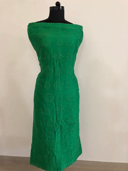 Bottle Green Chanderi Chikan Work Suit (Kurta and Dupatta)