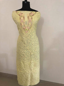 Lemon Yellow Parsi Neckline Chikankari Suit