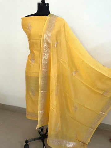 Yellow Aari Work Chanderi Suit (Kurta and Dupatta)