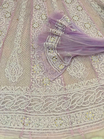 Lilac Net Chikankari Anarkali Suit with Mukaish (Anarkali and Dupatta)