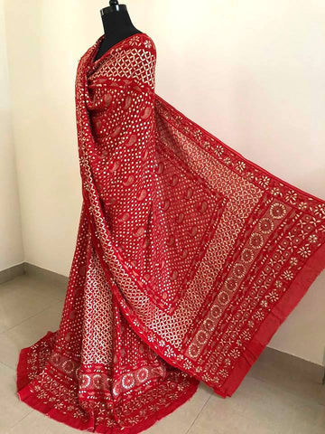 Maroonish Red Lucknowi Chikankari Lehenga Set with Gota Patti Work