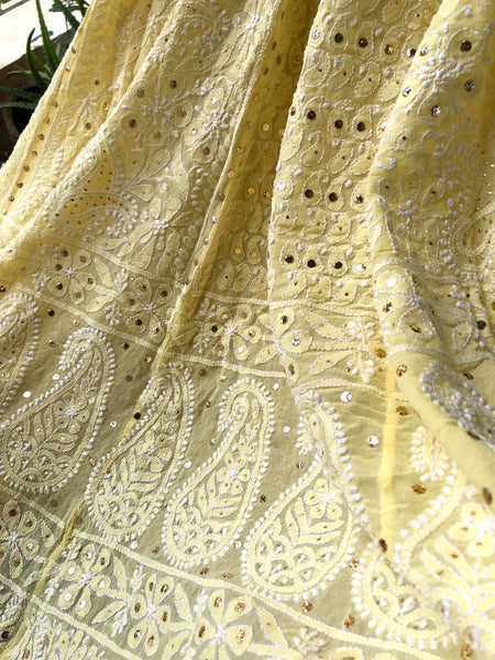 Yellow Mukaish Chikankari Lehenga Skirt