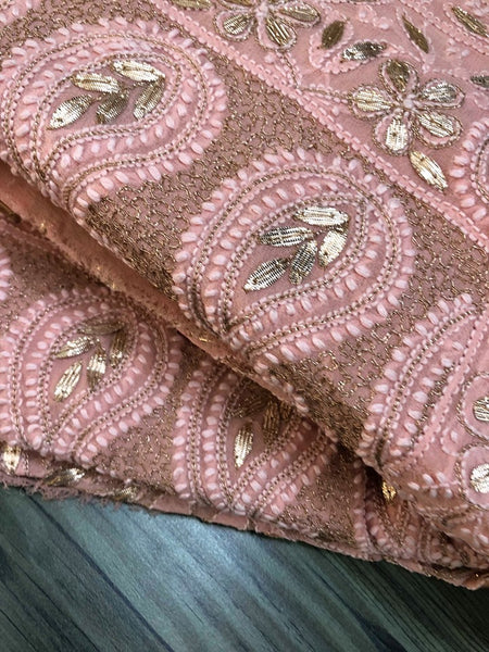 Peach Chikan Gota Patti Saree