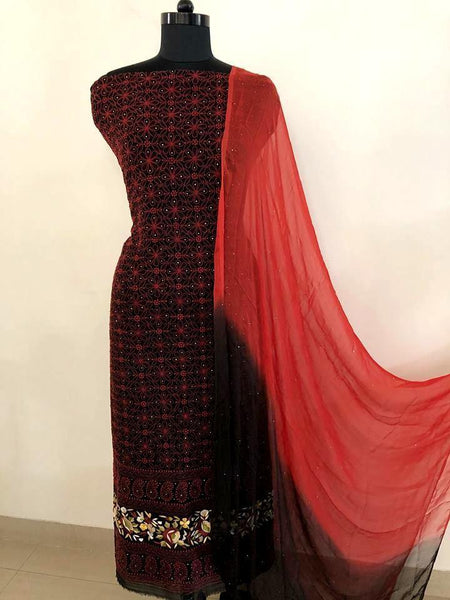 Black Chikankari Suit with Mukaish and Parsi Ghara Daaman