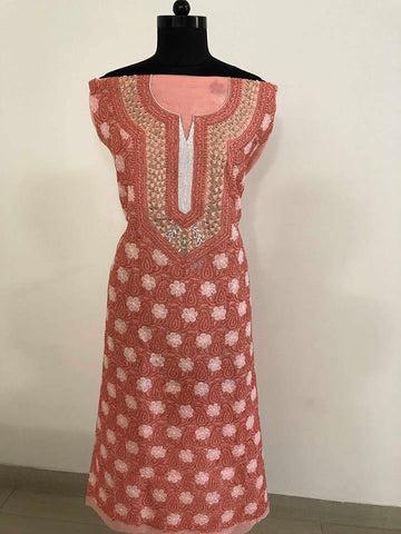 Cotton Chikankari  Kurti Fabric with Beads and Aari Work