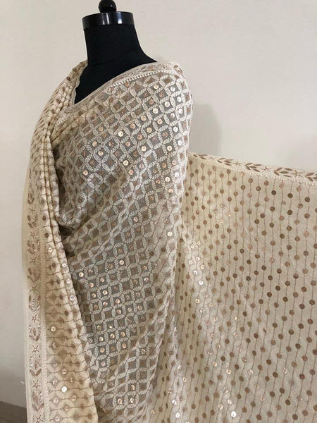 Beige Lucknowi Chikankari Dupatta with Heavy Gota Patti Work