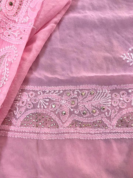 Pink Mukaish and Pearl Work