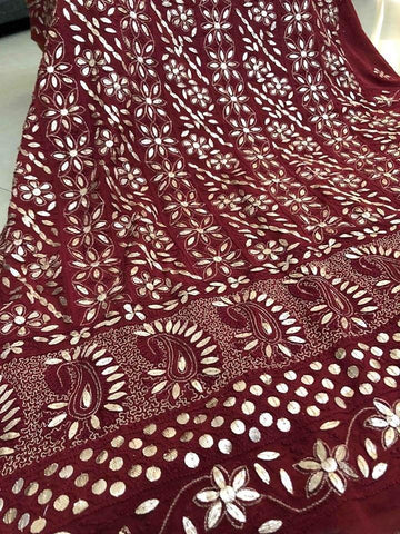 Dusty Maroon Gota Patti Work Chikankari Suit