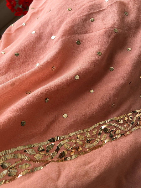 Peach All Over Mukaish Chikankari Suit