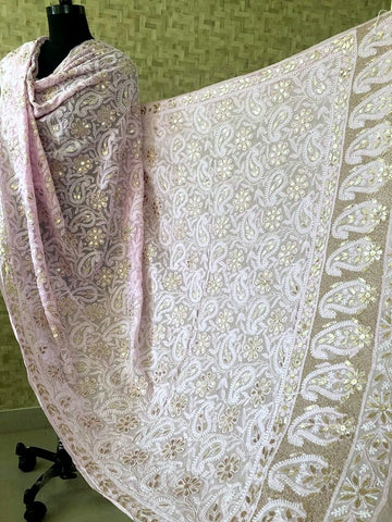 Light Pink Lucknow Chikankari Gota Patti Dupatta