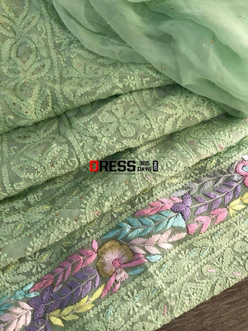 Parsi Daaman Chikankari Suit Suits