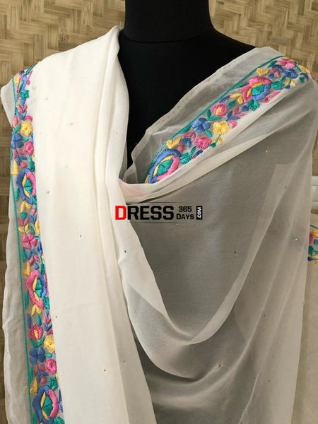Parsi Gara Embroidery Dupatta With Golden Mukaish Chikankari