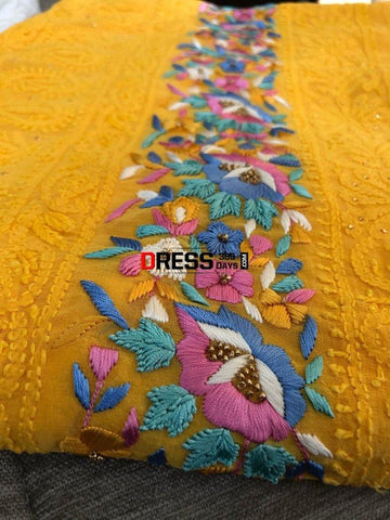 Parsi Gara Suit With Chikankari Embroidery Suits