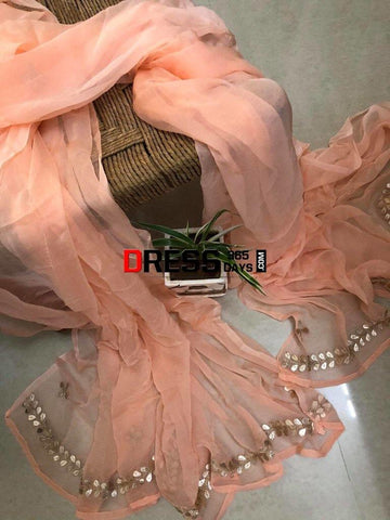 Peach Chiffon Dupatta With Gota Patti Chikankari
