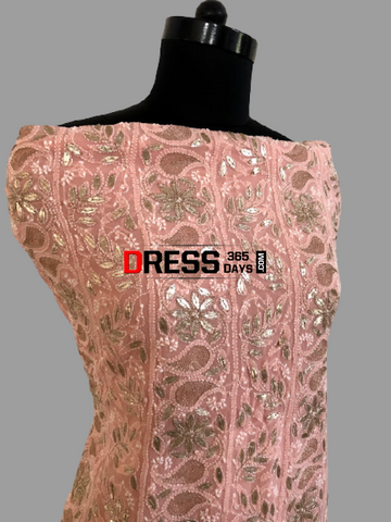 Peach Gota Patti Lucknow Chikankari Suit Suits