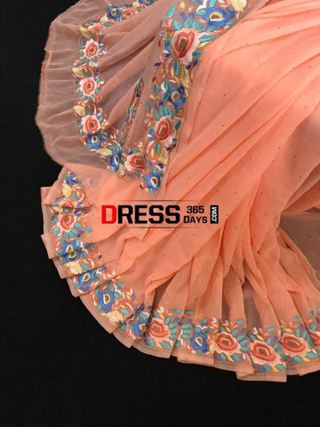 Peach Hand Embroidered Kamdani And Parsi Gara Saree Chikankari