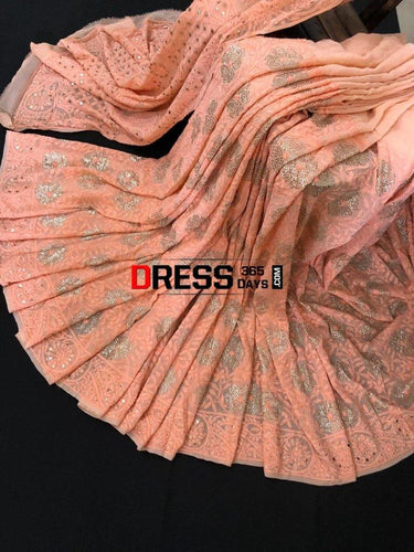 Peach Hand Embroidered Kamdani Chikankari Saree