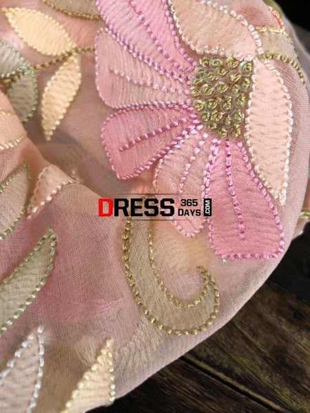 Peach Hand Embroidered Parsi Gara Chikankari Suit Suits