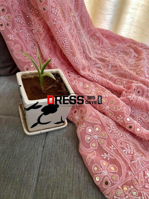 Peach Kamdani & Chikankari Suit Suits