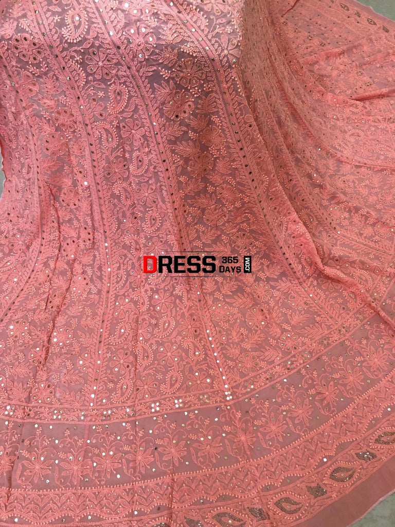 Peach Mukaish Chikankari Lehenga Skirt (Only Skirt)