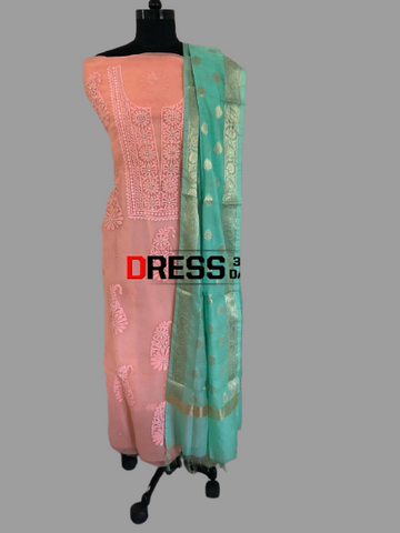 Peach Organza Beads Chikankari Suit with Banarasi Dupatta