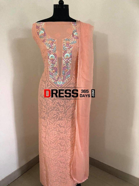 Peach Parsi Gara Chikankari Suit Suits