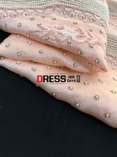 Load image into Gallery viewer, Peach Pure Chanderi Silk Chikankari Suit With Beads Work Suits
