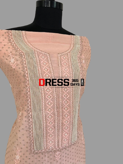 Peach Pure Chanderi Silk Chikankari Suit with Beads Work - Dress365days