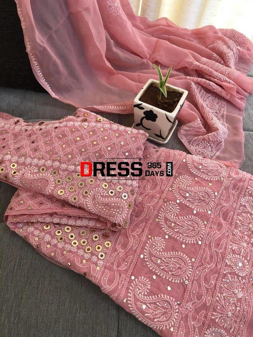 Peach Ring Mukaish Chikankari Anarkali Suit