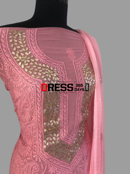 Peachish Pink Pure Georgette Gota Patti Chikankari Suit Suits