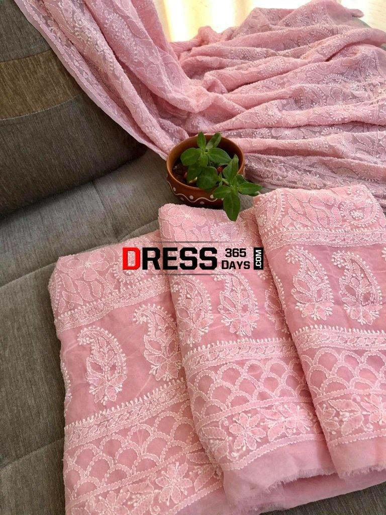 Peachy Pink Chikankari Suit With Embroidered Dupatta Suits