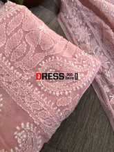 Load image into Gallery viewer, Peachy Pink Chikankari Suit With Embroidered Dupatta Suits