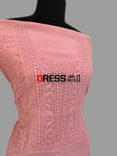 Peachy Pink Fine Chikankari Suit Suits