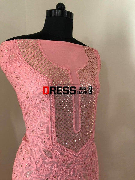 Peachy Pink Mukaish Chikankari Suit Suits
