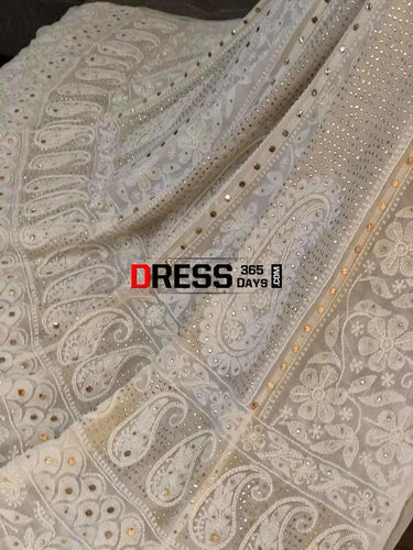 Pearl And Kamdani Chikankari Anarkali Suit