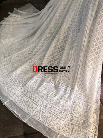 Pearl And Sequins Work Chikankari Anarkali Suit Dupatta