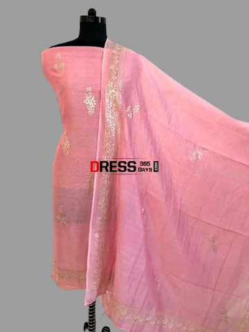 Pink Aari Work Chanderi Suit (Kurta and Dupatta)