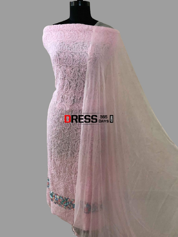 Pink Chikankari Suit with Mukaish and Parsi Embroidered Daaman