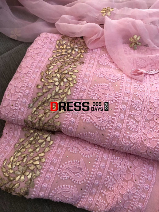 Pink Gota Daaman Chikankari Suit Suits