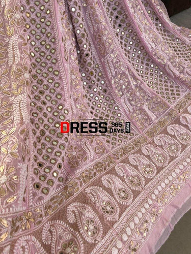 Pink Mirror And Gota Patti Chikankari Anarkali Suit