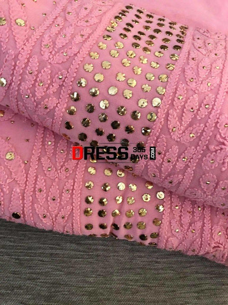 Pink Mukaish Chikankari Suit Suits
