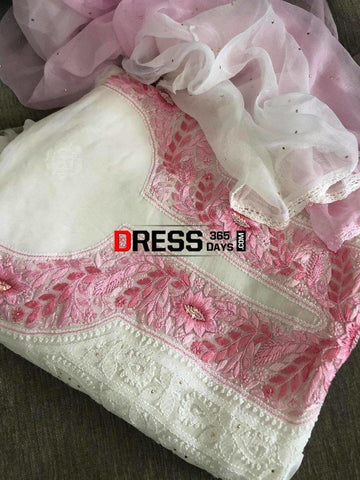 Pink Neckline Georgette Chikankari Suit Suits