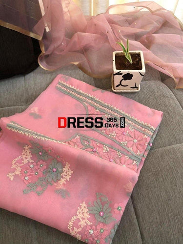 Pink Pure Organza Chikankari & Beads Suit Suits
