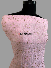 Load image into Gallery viewer, Pink Viscose Georgette Chikankari Gota Patti Kurti Fabric