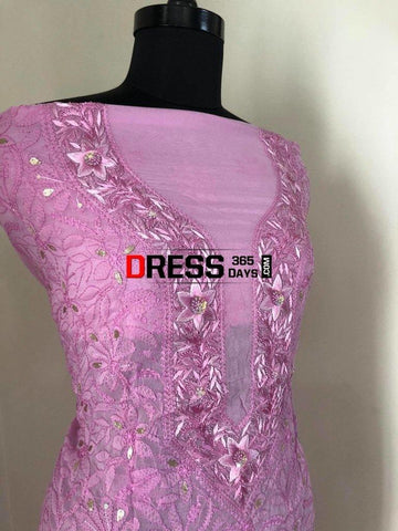 Pinkish Purple Parsi Gara Chikankari Suit Suits