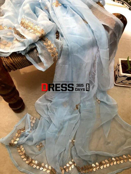 Powder Blue Chiffon Dupatta With Gota Patti Chikankari
