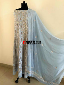 Powder Blue Chikankari Anarkali Suit With Gota Patti (Anarkali And Dupatta)