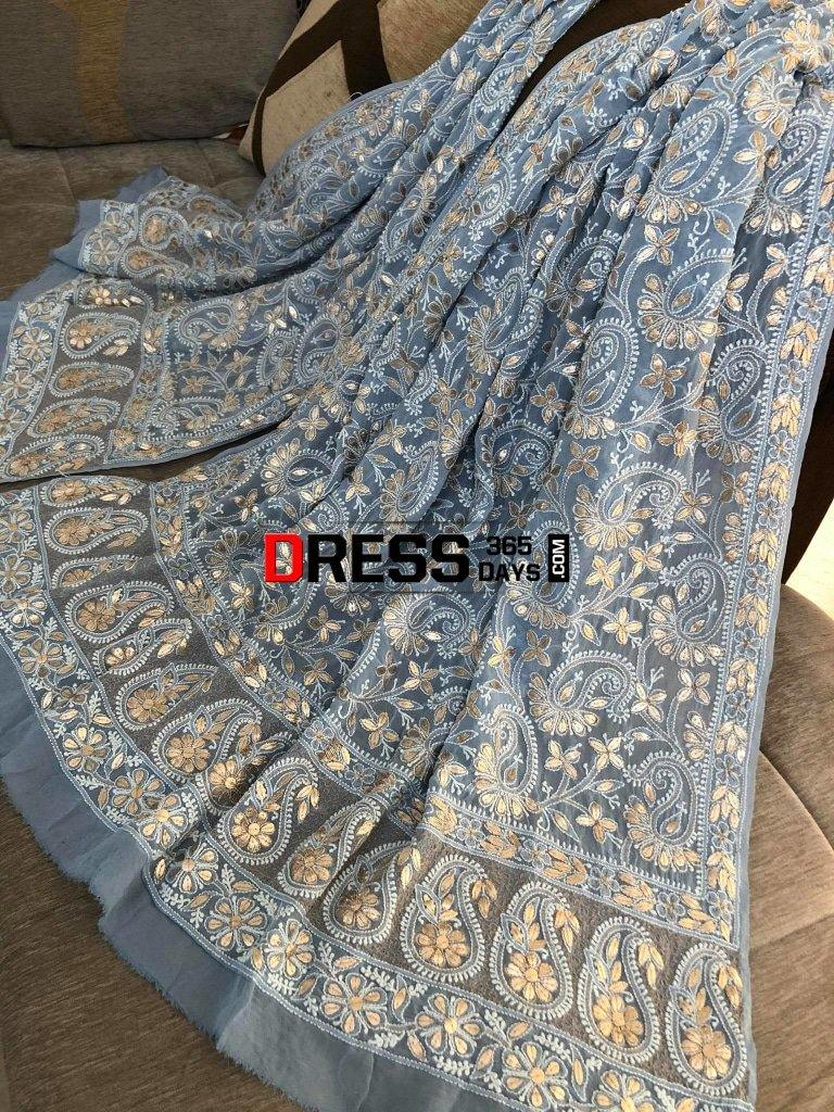 Powder Blue Gota Patti Chikankari Dupatta